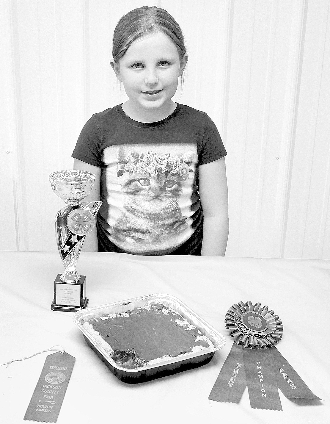 Dani Peters' chocolate chip cookie cake earned her phase I champion honors at the fair.  (Photo by Ali Holcomb)