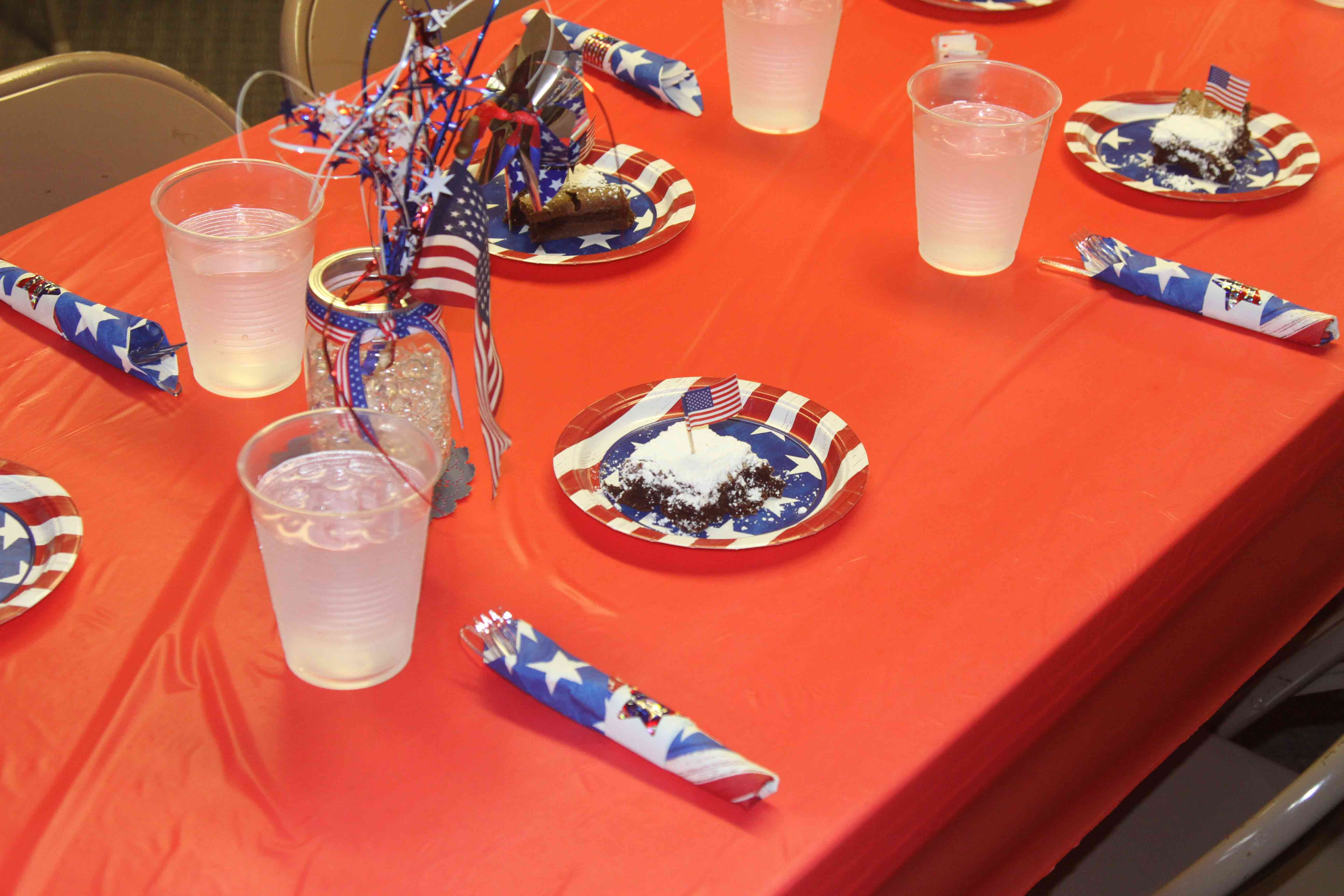 This patriotic place setting greeted all who sat down for dinner at the event.
