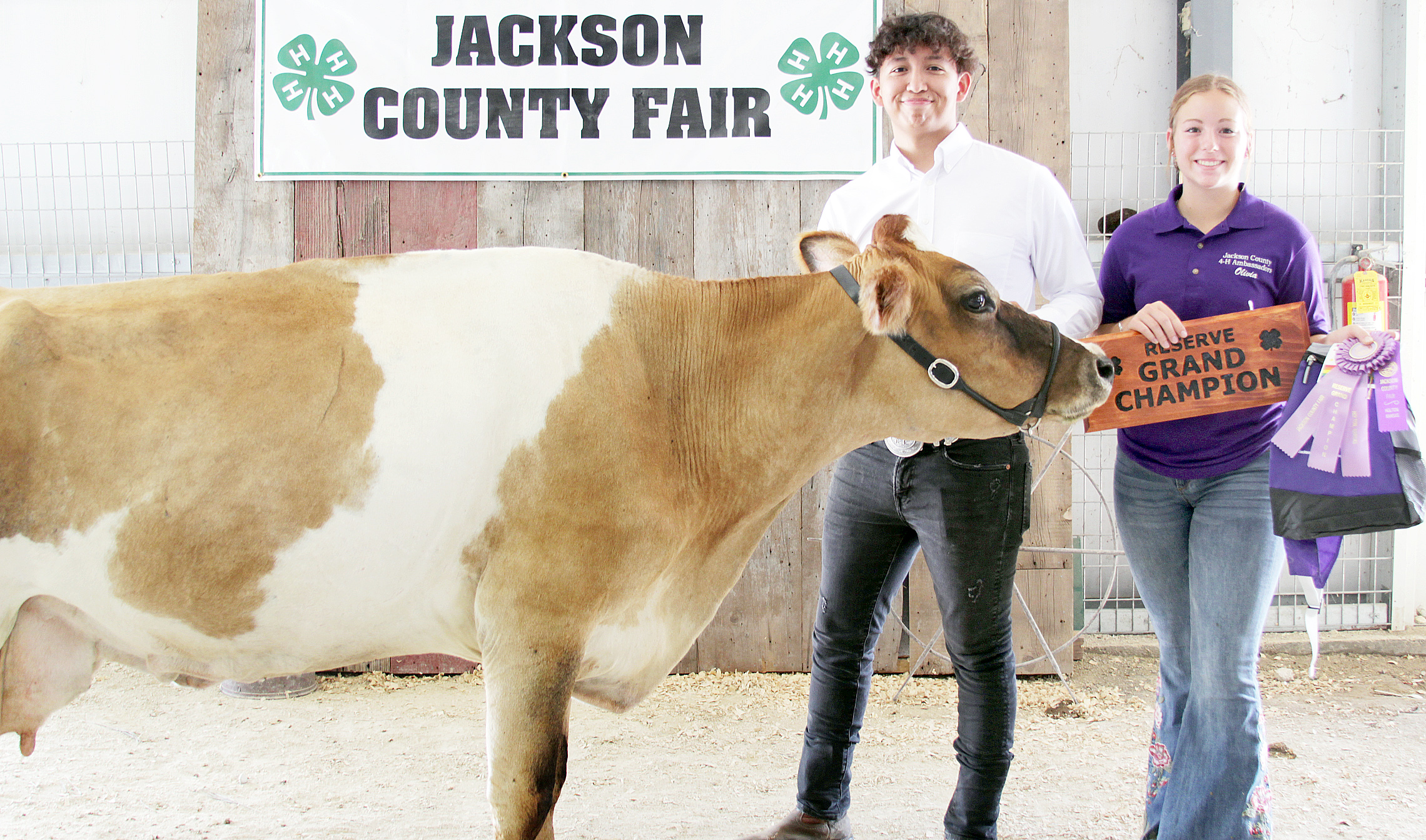 Jack Wiedmann of the Hoyt Livewires 4-H Club showed the Reserve Grand Champion dairy cow at the 2020 Jackson County Fair.