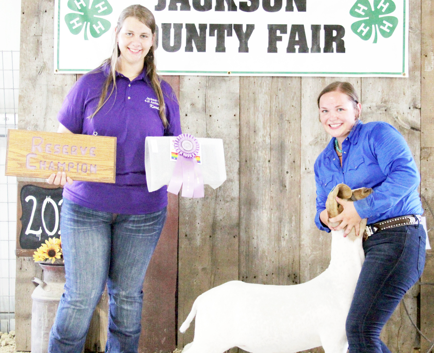 Jerilyn Nelson of the Pleasant Valley Rustlers 4-H Club showed the Reserve Grand Champion over all market goat at the 2020 Jackson County Fair.