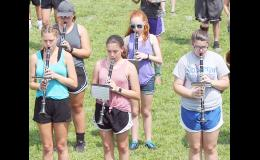A group of Holton High School clarinetists participated in a special marching band camp last week at HHS in preparation for fall football. Front row, from left: Kaitlyn Ramirez, Sydney Althauser and Hannah Newell; back row, from left: Katina Bartel and Lilly Kimberlin. School starts Thursday for students in Holton and other area schools. (Photo by Brian Sanders)