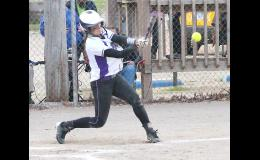 Panther Caitlin Burns (shown above) puts a ball in play in the second game of a doubleheader in Holton on Monday, sparking a big inning for her team. Royal Valley had a lot of those on Monday in a pair of victories, 16-4 and 10-1, over Holton to move to 11-1 on the season.