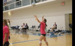 This photo shows Holton's Olivia Yingst serving the volleyball. Yingst will be a freshman this year.