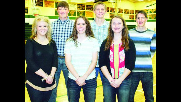 A king and queen of the Jackson Heights High School court will be selected from these six seniors for this year's winter courtwarming ceremony, to be held at halftime of the Cobra boys varsity basketball game against Maur Hill High School on Friday, Feb. 6. Queen candidates, from left to right on front row, are Payton Thomas, Jordan Wells and Jessica Keehn; king candidates, from left to right on back row, are Austin Amon, Lane Slocum and Logan Wells.