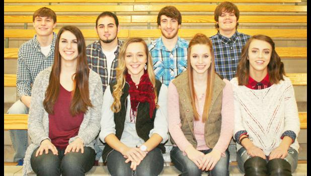 Holton High School will announce its winter courtwarming king and queen at halftime of the Wildcat varsity boys basketball game against Sabetha on Friday. Queen candidates are, from left on front row, Hayley Thompson, Sarah Sweet, Megan Rhule and Sydney McRae. King candidates are, from left on back row, Tanner New, Torin Kaboudan, Austin Frakes and Josh Bjelland. Friday's games begin at 4:30 p.m. in the HHS gym. (Photo by Brian Sanders)