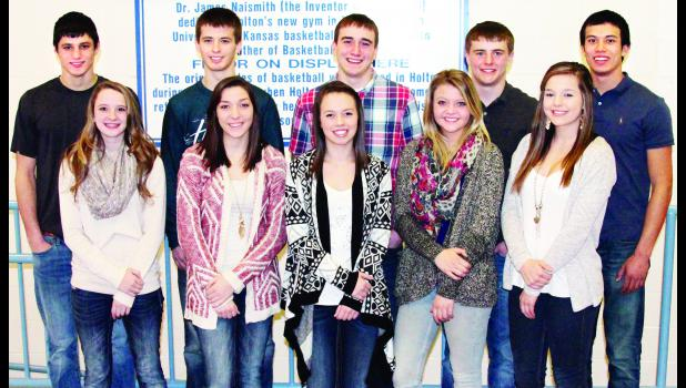 A King and Queen of Courts will be chosen from these 10 Holton High School seniors this Friday during winter courtwarming ceremonies at halftime of the HHS varsity boys basketball game. Queen candidates are, front row, from left, Tyler Prine, Tori Bontrager, Madi Reith, Rebekah Lux and Brianna Boyett. King candidates are, back row, from left, Lucas Lovvorn, Garett Beecher, Karl Wilhelm, Dean Klahr and Nils Bergsten.
