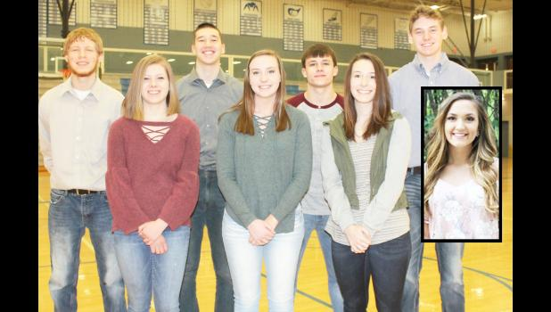 Two of these Holton High School seniors will be named King and Queen of Courts this Friday evening. Queen candidates include, front row, from left: Ashlyn Robinson, Gracie Frakes, Sarah Lierz and Emma Reith (inset). King candidates include, back row, from left: Tracer Fox, Mason Chanay, Ace Eisenbarth and Brock Forrester. (Photo by Brian Sanders)