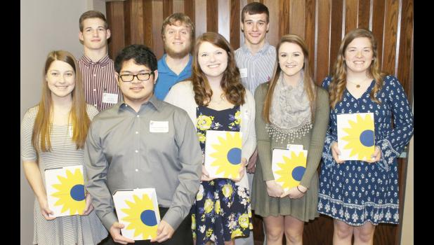 2017 Kansas Honors Program scholars from Holton High School are, from left to right Natalie Wareham, Tyler Price, Eduardo Bertulfo, Aaron Bain, Kylie Hulse-Nelson, Joshua Wilhelm, Claire Mosier and Emma Wittmer. (Photo by Brian Sanders)