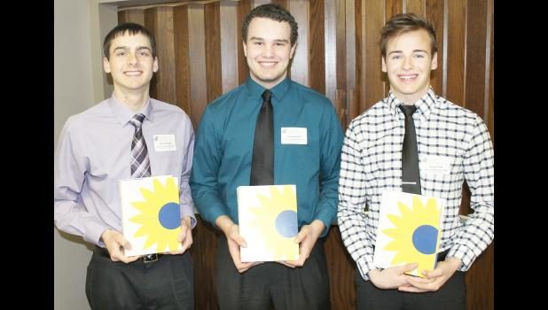 2017 Kansas Honors Program scholars from Jackson Heights High School are, from left to right, John Kennedy, Kaleb Keehn and Ethan Fund. (Photo by Brian Sanders)
