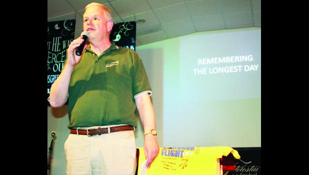 Former Jackson Heights superintendent Paul Becker talked about a trip he took to Omaha Beach at Normandy, France last year, marking the 70th anniversary of the D-Day landings. Becker discussed his trip during a fund-raising soup supper this past weekend for the Honor Flight program, which allows local veterans to travel to Washington D.C. for a day for free to visit national monuments and other historic sites.