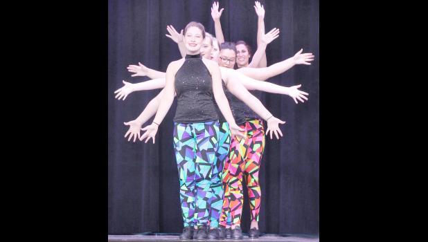 """Some of Studio 1's more advanced students performed """"Ain't Nothing Wrong With That."""" Those pictured are (from front to back) Natalie Wareham, Abbie Lamme, Celana Zehner, Kaylee Davis and Lauren Leavendusky. (Photo by Ali Holcomb)"""