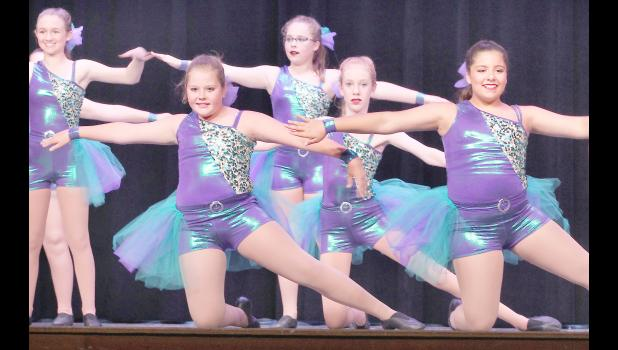 """Students who danced to """"You Spin Me Round"""" included (from left) Katie Hines, Michaela Hutfles, Taytum Doran, Makenna Rieschick and Sicily Snyder. (Photo by Ali Holcomb)"""