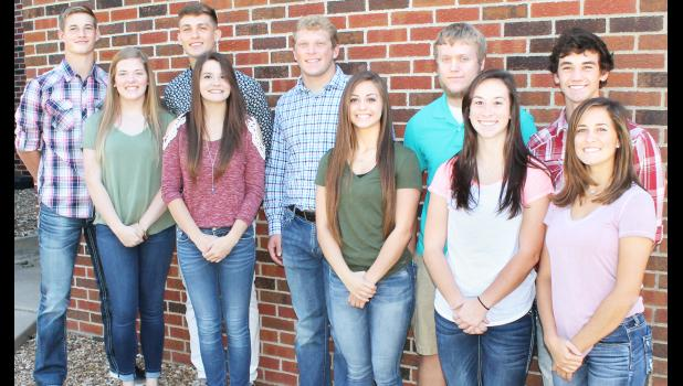 Two of these Holton High School students will be named homecoming king and queen prior to the start of Friday's Wildcat football game against Royal Valley. Queen candidates, from left on front row, are Emma Wittmer, Sydney Prine, Ashlyn Weilert, Courtney Boswell and Cali Smith; king candidates, from left on back row, are Tyler Price, Spencer Baum, Tel Wittmer, Aaron Bain and Brady Forrester. (Photo by Brian Sanders)