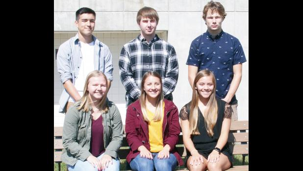 Royal Valley High School will announce a homecoming king and queen, chosen from these six RVHS seniors, prior to the Panthers' football game against the Holton Wildcats this Friday. Queen candidates, from left, are Cassidy Parks, Hadley Gregory and Kenzie Ogden; king candidates, from left, are Holden Mundy, AJ Hastings and Gavin Cumpton. Coronation will be held at 6:40 p.m. Friday, followed by the game at 7 p.m. (Photo by Michael Powls)