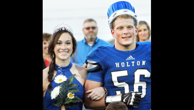 Holton High School seniors Courtney Boswell (left) and Tel Wittmer were named homecoming queen and king prior to Friday night's football game against Royal Valley. (Photo by Michael Powls)
