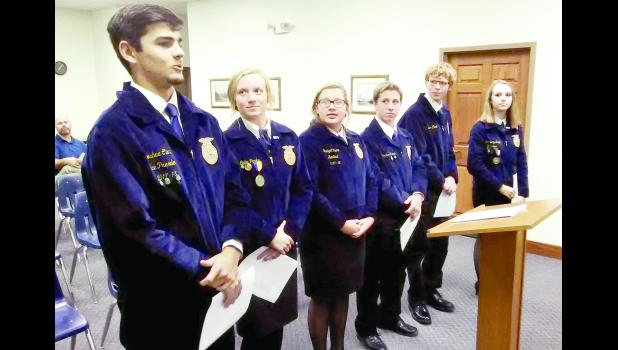"From left to right, Holton High School FFA members Joshua Clark (vice president), Cailin Parks, Bridget Kucan (sentinel), Chris Roush, Tracer Fox and Kortnee VanDonge (treasurer) addressed the Holton City Commission about the FFA chapter's ""Adopt-A-Spot"" program on Monday. The chapter is establishing the program to beautify Holton's parks and other public places."