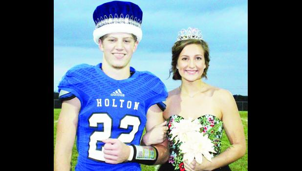 Holton High School seniors AJ Haussler (left) and Maleah Price were chosen to rule over Friday's HHS football homecoming game against Hiawatha. (Photo by Brian Sanders)