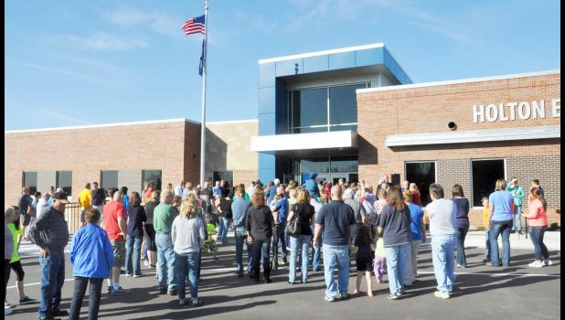 After a 30-minute ceremony with several special speakers and songs by the Holton High School band, members of the public were allowed inside the new Holton Elementary School to tour classrooms and other areas during an open house on Sunday. (Photo by Ali Holcomb)