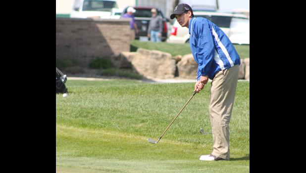 Wildcat Nils Bergsten (shown above) chips onto the green during competition in Seneca last Thursday. Coach Don Swisher noted all the Holton golfers made strides in their short game, but it wasn't enough to place at the tough meet.