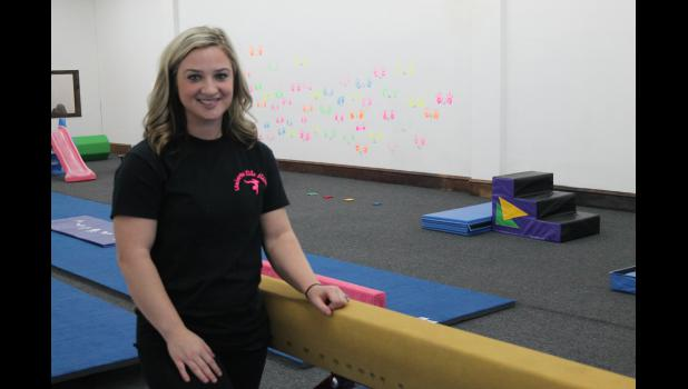 Victoria Lamberson of Netawaka recently opened Lamberson Elite Athletics, a gymnastics center, above NAPA Auto Parts on the east side of the Holton Square.