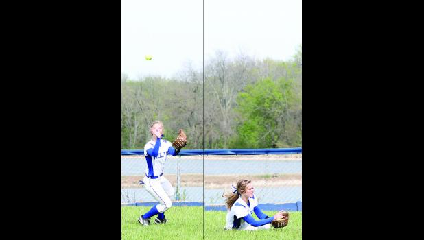 Holton's Mackenzie Moore (shown above) tracks a ball down and holds on for a catch to record an out early in Monday's doubleheader against Perry-Lecompton