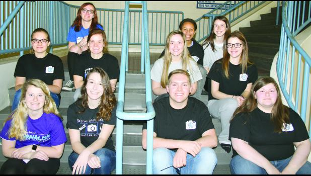 Holton High School journalism students who qualified for the state journalism competition include (front row, from left) Macy Pruitt, Sarah Lierz, Blake Harris, Gabriella Katz, (middle row, from left) Allison Campbell, Olivia Yingst, Emma Reith, Samantha Wilson, (back row, from left) Mikaela Mayhew, Olivia Mulenga and Megan Lierz. Not pictured are Tracer Fox, Abby Boeckman, Will Davies, Carly Raney, Britney Mick, Brooklyn Klahr, Annika Bergsten and Lauryn Moore.