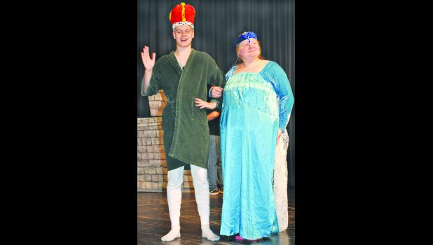 "Royal Valley High School students will present ""I Hate Shakespeare,"" a two-act play, this Friday and Saturday at the elementary school auditorium. The play is a compilation of several of Shakespeare's most famous works. In the scene above, Kyle Meyer (left) and Hannah Sutton (right) play Hamlet's parents, the king and queen of Denmark."