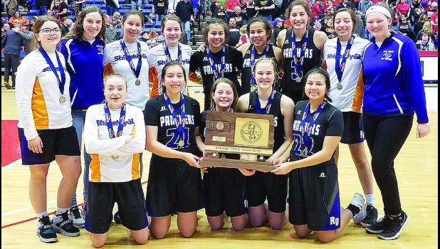 The Royal Valley High School girls varsity basketball team won the Class 3A state girls basketball tournament on Saturday in a thrilling overtime victory over Cheney, 55-52. It was the first state basketball title — and the second state championship in any sport — in school history. (Photo by Michael Powls)