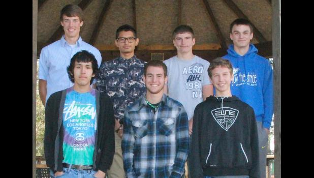 The Holton Recorder's All-County boys cross country team is pictured above and includes (front row, left to right) Kwaki Spoonhunter (RVHS), Seth Holliday (JHHS), Riley Strader (HHS), (back row, left to right) Patrick Broxterman (RVHS), Eugene Masquat (RVHS), Braden Dohl (JHHS) and Tristan Parks (HHS).