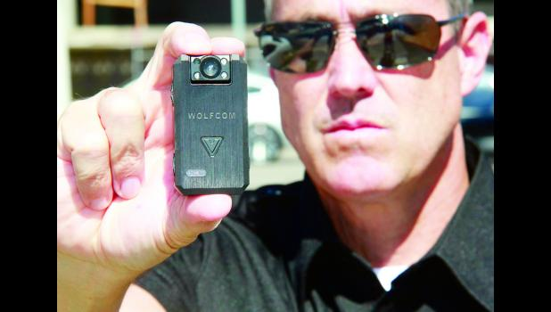 Hoyt police officers are seeking donations for the purchase of body cameras similar to the one shown in the photo above. Donations may be made online at BodyCameraDonations.com (Submitted photo)