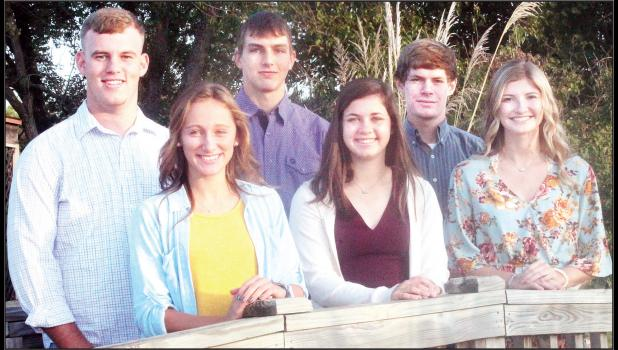 A king and queen will be chosen from these Jackson Heights High School seniors at halftime of the JHHS Cobra varsity homecoming football game against Valley Heights on Friday, Oct. 4. Queen candidates, from left on front row, are Jodi White, Abby Brey and Kylie Dohl. King candidates, from left on back row, are Carson Williams, Joel Kennedy and Cable Wareham. (Photo by Brian Sanders)