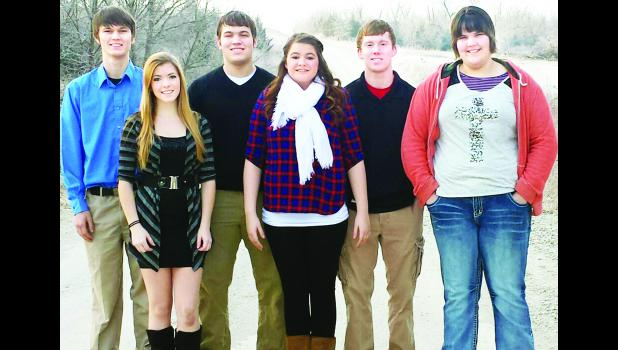 A king and queen of courts will be chosen from among these six Wetmore High School seniors this Friday at halftime of the boys varsity basketball game against Hanover. Queen candidates, from left to right on front row, are Keri Pfrang, Kayle Wamsley and Alisha Heitz; king candidates, from left to right on back row, are Layne Hodge, Austin Morris and Jeremy Hoelscher.