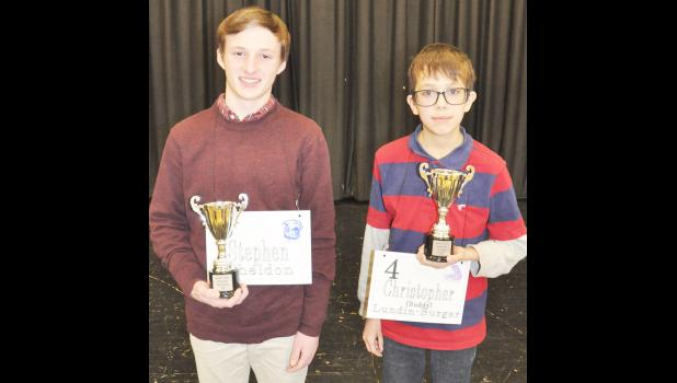 "Royal Valley's Christopher ""Buddy"" Lundin-Burger (right) and Holton's Cooper Sheldon (left) were named first and second place, respectively, in this year's Jackson County Spelling Bee.	(Photo by Ali Holcomb)"