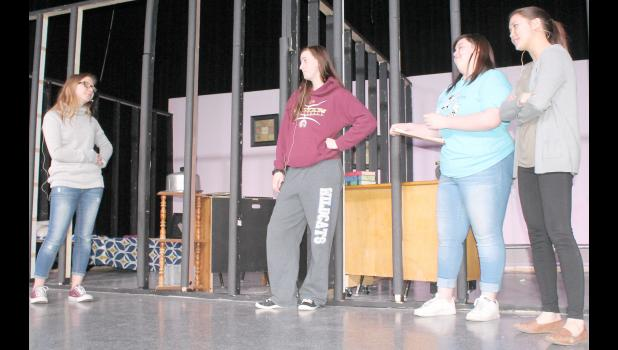 "From left, Holton High School students Alexis Twombly, Sarah Bond, Athena Baldwin and Gladys Heitzmann rehearse a scene from ""Delval Divas,"" a comedy to be presented on the HHS stage at 7 p.m. Saturday and at 4 p.m. Sunday."
