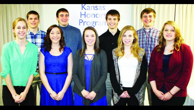 Holton High School was represented by nine seniors, including, front row, from left: Ashley Cook, Tori Bontrager, Madison Reith, Taryn Weilert and Kelcie Matousek; back row, from left: Trey Tanking, Karl Wilhelm, Garett Beecher and Dean Klahr.