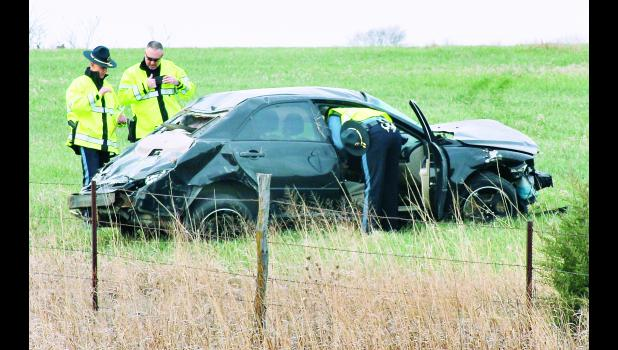 Kansas Highway Patrol troopers investigated the scene of a single-vehicle fatality accident on Tuesday morning about three miles north of Holton. The accident claimed the life of Topeka resident Anthony Bostick, who was ejected from the vehicle when it crossed the centerline, left the roadway and rolled, ending up in a pasture just north of 262nd Road on U.S. Highway 75.