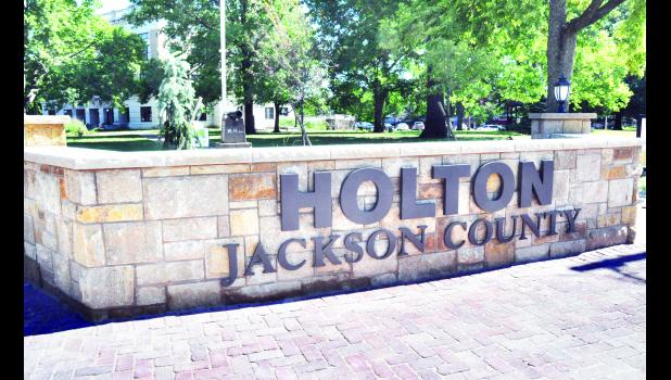 Construction of the new Holton sign on the southwest corner of the Jackson County Courtyard is complete. The project was a joint effort between the Jackson County Commission and Holton Main Street.