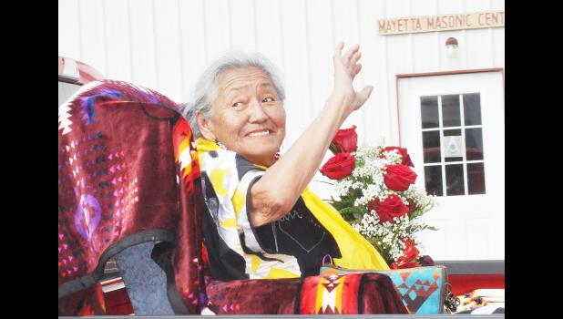 Velma Wahwasuck served as the Prairie Band Potawatomi Elder Queen during the Mayetta Pioneer Day parade, held last Saturday in downtown Mayetta. (Photo by Ali Holcomb)
