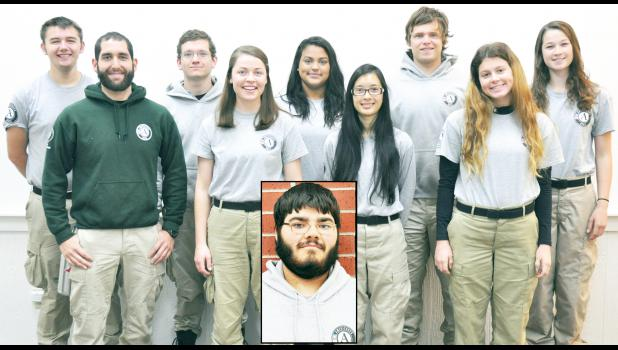 Members of the AmeriCorps team serving in Jackson County until Dec. 18 include (front row, from left) team leader Julian Jordan, Barrie Schmitt, Linna Bounxayavong; Audrey Snyder, (back row, from left) Steve Phillips, Alec Bandemier, Amanda Iscoa, Isaac Dahl, Katie Olson and Jesse Mitts (inset). Not pictured is Erica Blue. (Photo by Ali Holcomb)