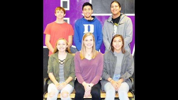 Royal Valley will crown its King and Queen of Courts from these six students on Friday during halftime of the varsity boys basketball game against Hiawatha. Queen candidates include (seated, from left) Kenzie Hegemann, Mary Broxterman and Kiikto Thomas. King candidates are (standing, from left) Garrett Pruyser, Kobe Mills and Knowee Potts. (Photo by Ali Holcomb)