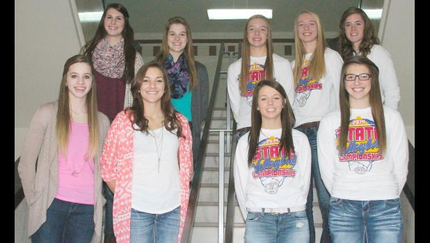 Members of The Holton Recorder's All-County volleyball team are pictured above and include (front row, left to right) Megan Rhule (HHS), Mallory Fate (HHS), Jaycee Worrell (RVHS), Caitlin Burns (RVHS), (back row, left to right) Hayley Thompson (HHS), Aidan Allen (JHHS), Sarah Beam (RVHS), Hannah Beam (RVHS) and Anna Johnson (RVHS).