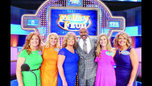 "Three generations of the Childs family from Netawaka and Holton will appear on an upcoming episode of the TV game show ""Family Feud.""In the photo above, the Childs women are shown with the show's host comedian Steve Harvey. Those pictured are (from left) Amanda (Williams) Kennedy, April (Grace) Zeller, Beth (Childs) Pagel, Steve Harvey, Bree Williams and Brandy (Pagel) Watkins."