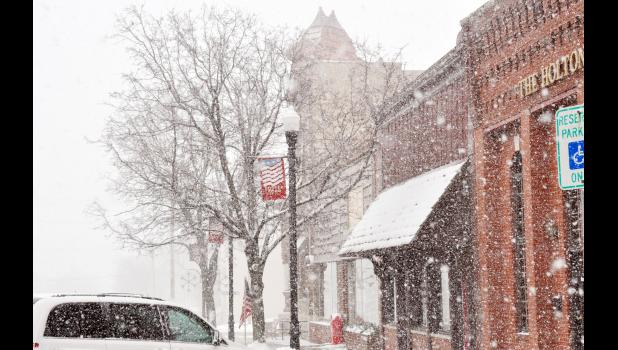 This photo was taken Tuesday on the south side of the Holton Square. Additional winter weather is expected this weekend.