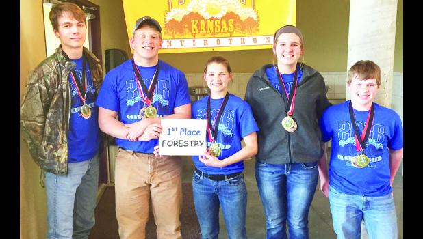 Members of the Holton High School Envirothon team that qualified for the North America Envirothon competition this summer in Canada include (from left) juniors Ian McAsey, Tel Witmer, Alexandra Myers, Alexandra Clark and freshman Walker Sheldon.