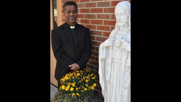 Father Merianand Mendem, a native of India, is settling in as the new pastor of Jackson County's Catholic churches. (Photo by Ali Holcomb)