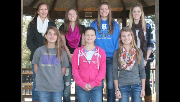 Members of The Holton Recorder's 2014 All-County girls cross country team are pictured above, including (front row, left to right) Katie Hanshaw (RVHS), Alex Myers (HHS), Kaitlynn Little (JHHS), (back row, left to right) Tamo Thomas (RVHS), Kaytlyn Gooderl (RVHS), Emily Degenhardt (HHS) and Alexis Rieschick (JHHS).