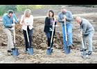 A groundbreaking ceremony was held Thursday in Hoyt at the site of the new Family Practice Associates clinic. The new clinic will be located on Kansas Highway 214 just north of Denison State Bank. Shown breaking ground on the new clinic include Nate McAlister, Hoyt City Council; Carrie Saia, Holton Community Hospital CEO; Jamie Stuke, advanced practice registered nurse at the clinic; D.J. Chance of Chance Construction; and J. Richard Lake, HCH board member. (Photo by Ali Holcomb)