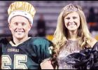 Jackson Heights High School seniors Caleb Sullivan (left) and Bree Williams were named king and queen over fall homecoming activities at halftime of the Cobras' 46-8 football victory over Onaga. (Photo by Kelly Breckunitch)