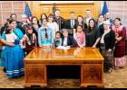 "Kansas Gov. Laura Kelly recently proclaimed November as Native American Heritage Month in Kansas. Kelly (seated) is shown here with members of Kansas tribes, including the Prairie Band Potawatomi. ""Kansas' Native American tribes have made long-lasting, immeasurable contributions to our state and our nation,"" Gov. Kelly said. (Submitted photo)"