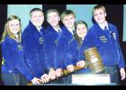 Those elected to serve as Kansas state FFA officers for 2015-16 at the 87th annual Kansas FFA Convention include, from left, Sentinel Gabryelle Gilliam, Washington County; Reporter Kyler Langvardt, Chapman; Treasurer Lane Coberly, Chapman; Secretary Dean Klahr, Holton; Vice President Bailey Peterson, Buhler; and President Karl Wilhelm, Holton. The election of Wilhelm and Klahr to state offices marks the first time that two Holton FFA members have been elected to serve in the same year. (Submitted photo)